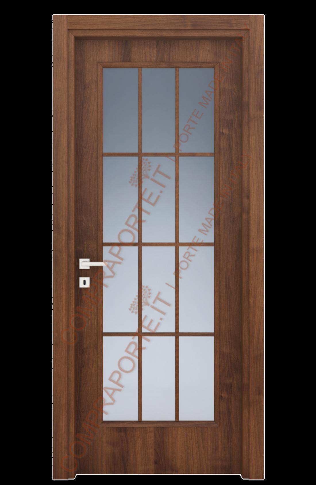 Porte Interne Con Vetro Decorato.Porta A Vetro All Inglese Mod 113 Vi Noce Nazionale Compraporte It
